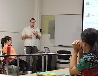 professor teaching seminar course