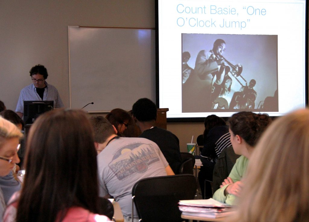 """Eric Weisbard teaching a class about William James """"Count"""" Basie"""